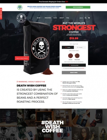 eCommerce website: Death Wish Coffee