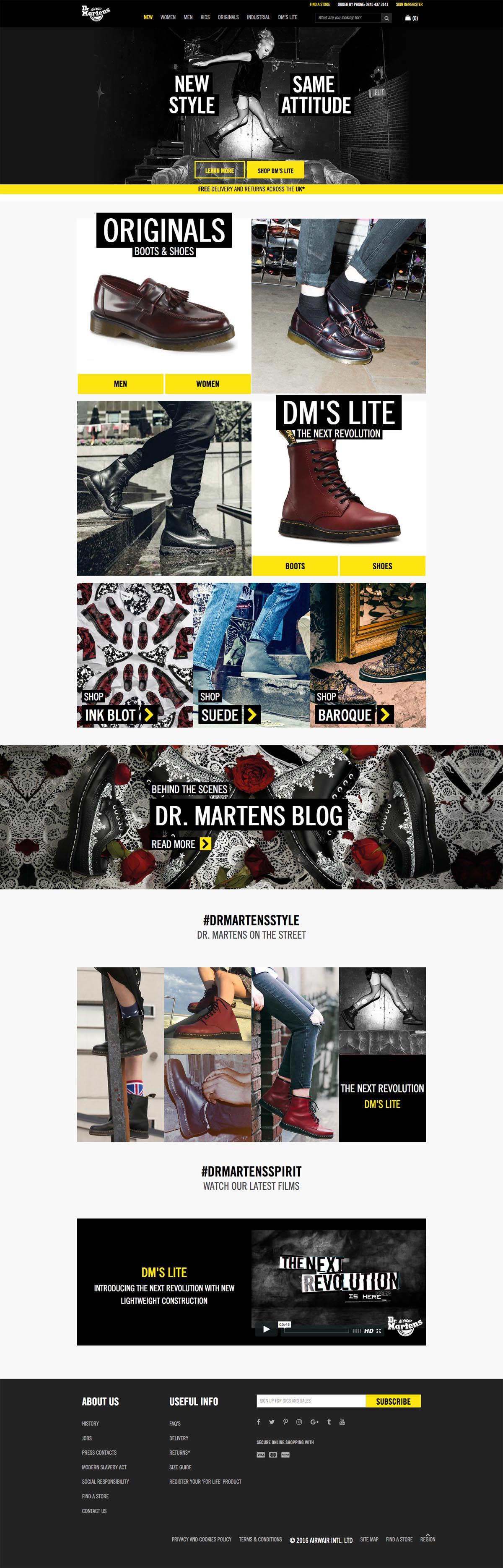 eCommerce website: Dr. Martens