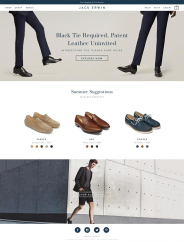 eCommerce website: Jack Erwin