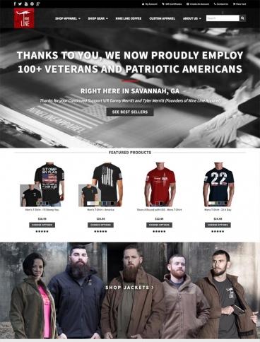 eCommerce website: Nine Line Apparel