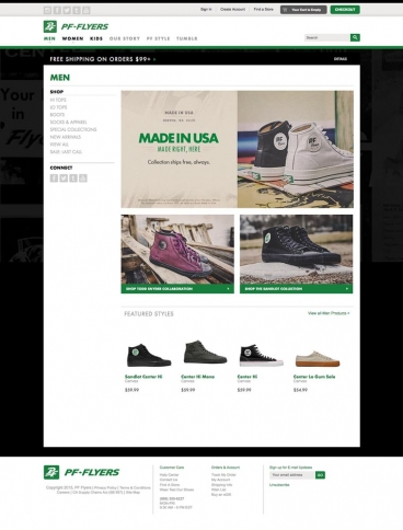eCommerce website: PF Flyers