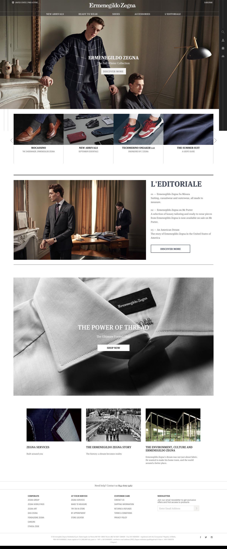 eCommerce website: Zegna