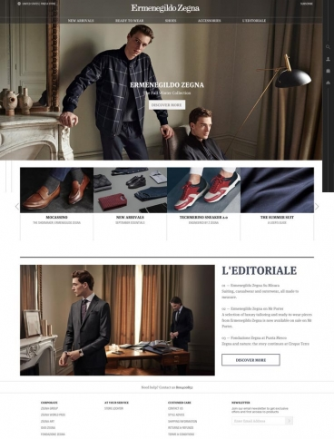 eCommerce website: Zegna