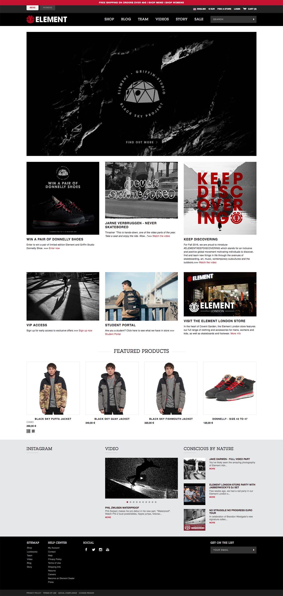 eCommerce website: Element