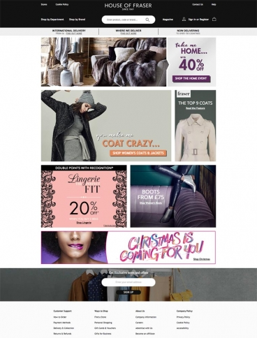 eCommerce website: House of Fraser