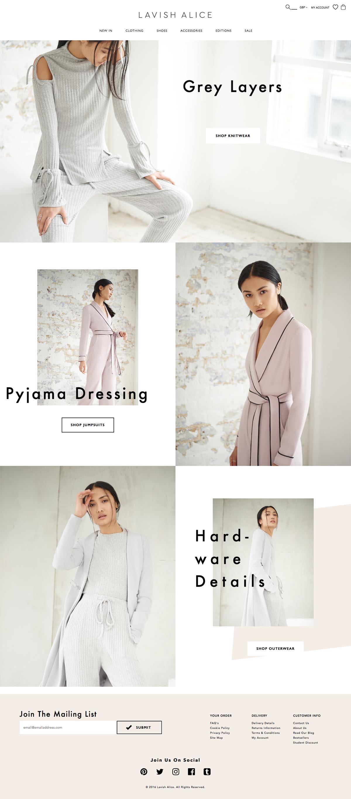 eCommerce website: Lavish Alice