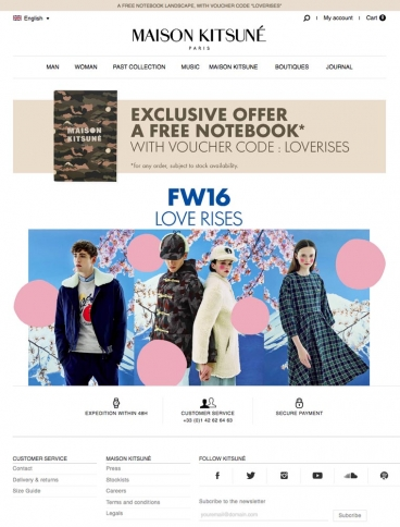 eCommerce website: Maison Kitsune