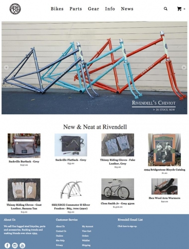 eCommerce website: Rivendell Bicycle Works