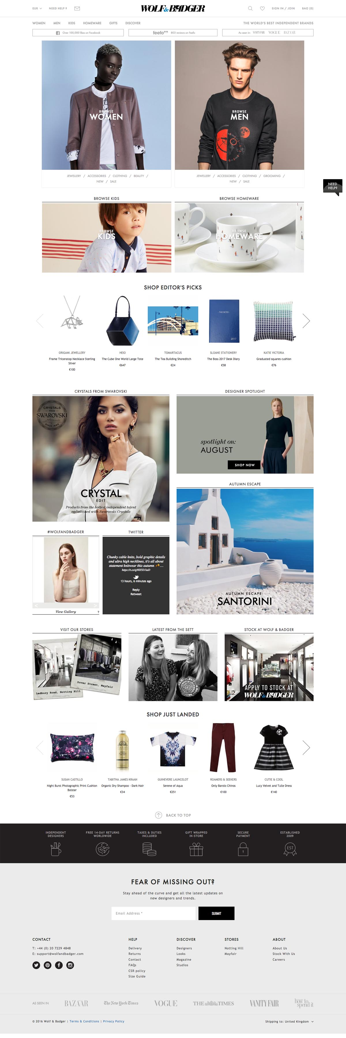 eCommerce website: Wolf and Badger