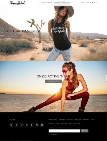 eCommerce website: Yoga Rebel