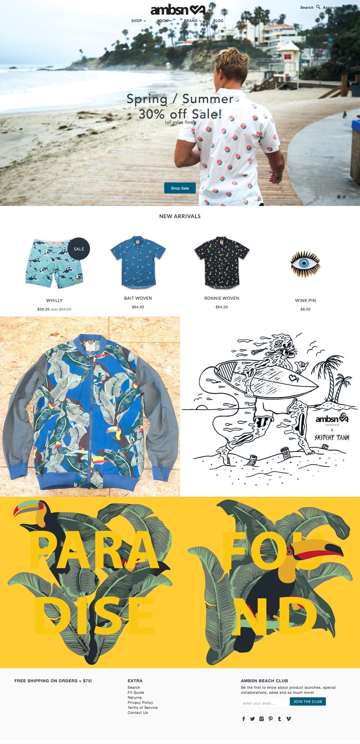 eCommerce website: ambsn