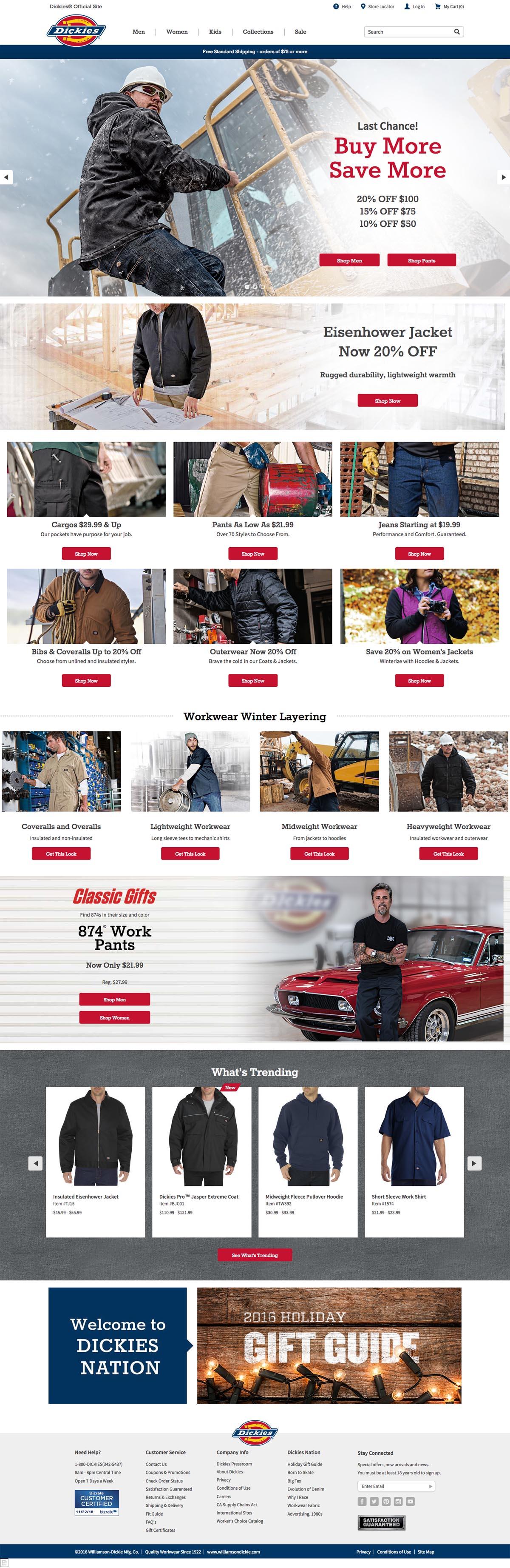 eCommerce website: Dickies