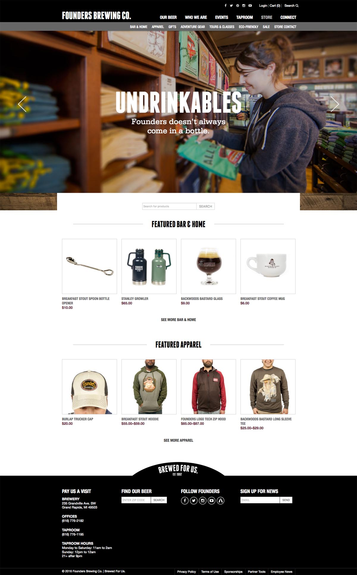 eCommerce website: Founders Brewing Co.
