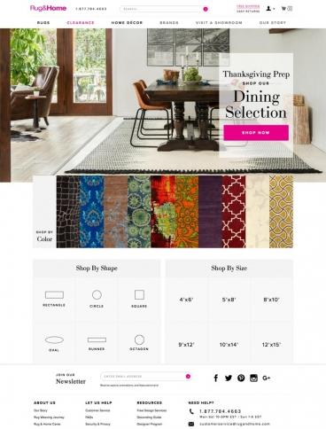 eCommerce website: Rug & Home
