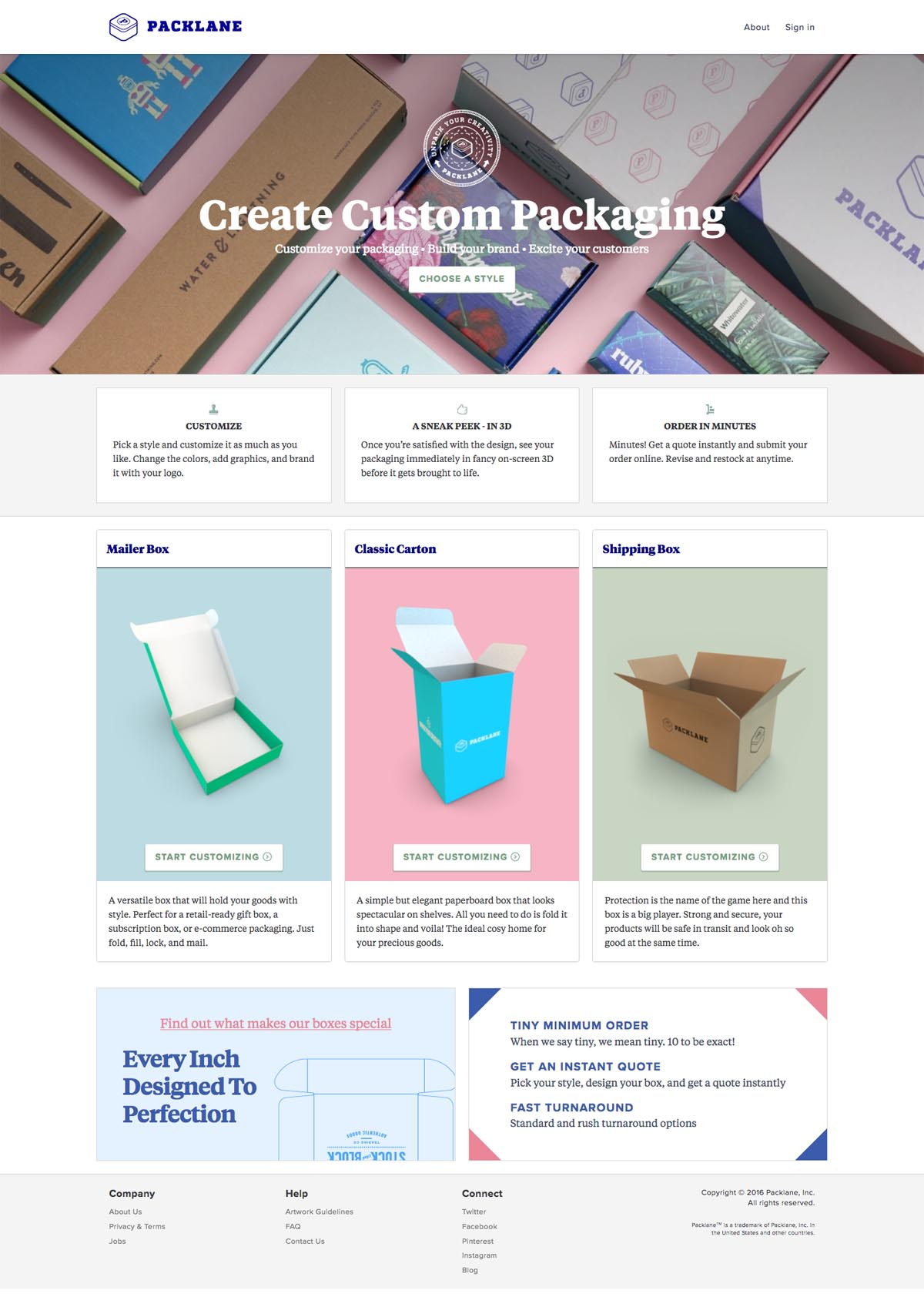 eCommerce website: Packlane