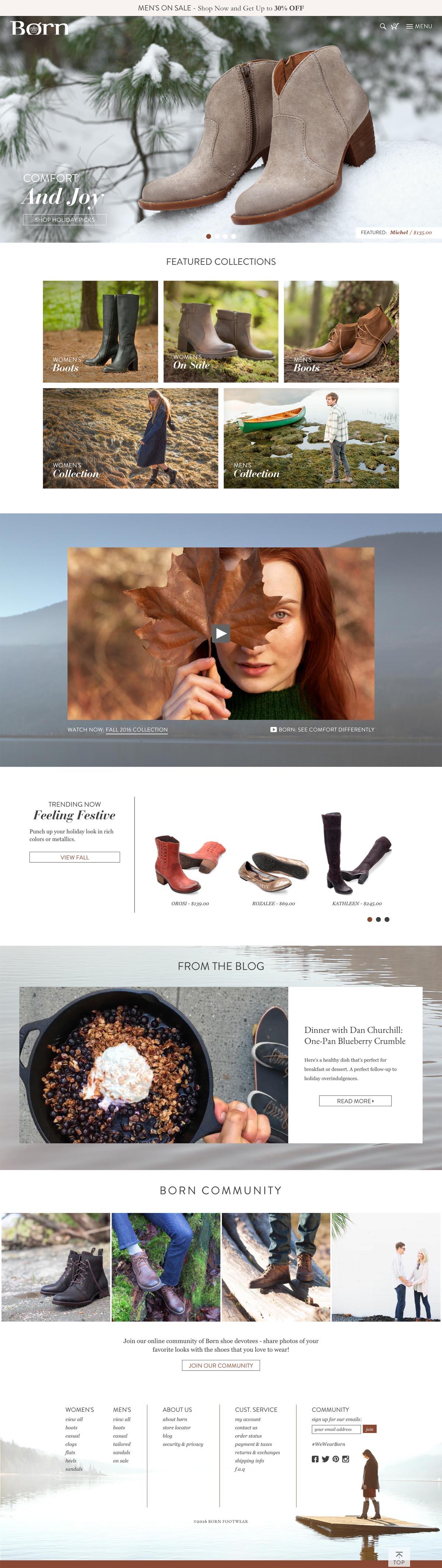 eCommerce website: Born Shoes