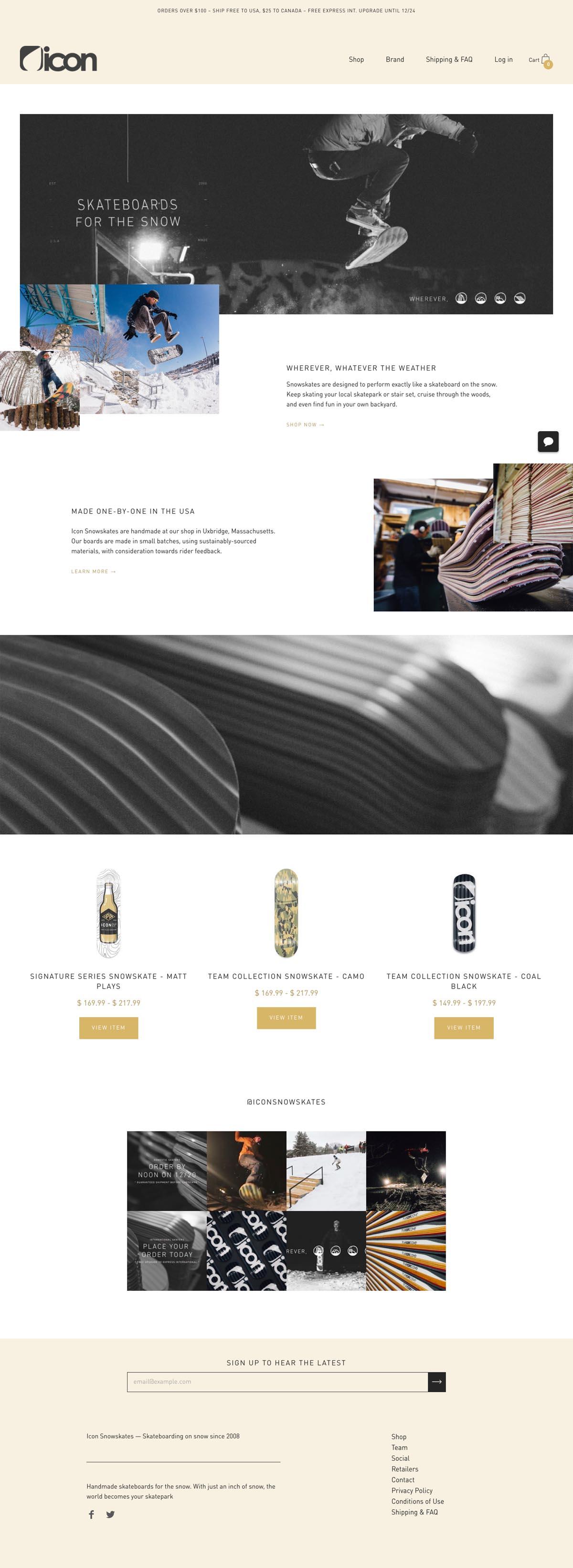 eCommerce website: Icon Snowskates