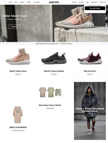 eCommerce website: Subtype