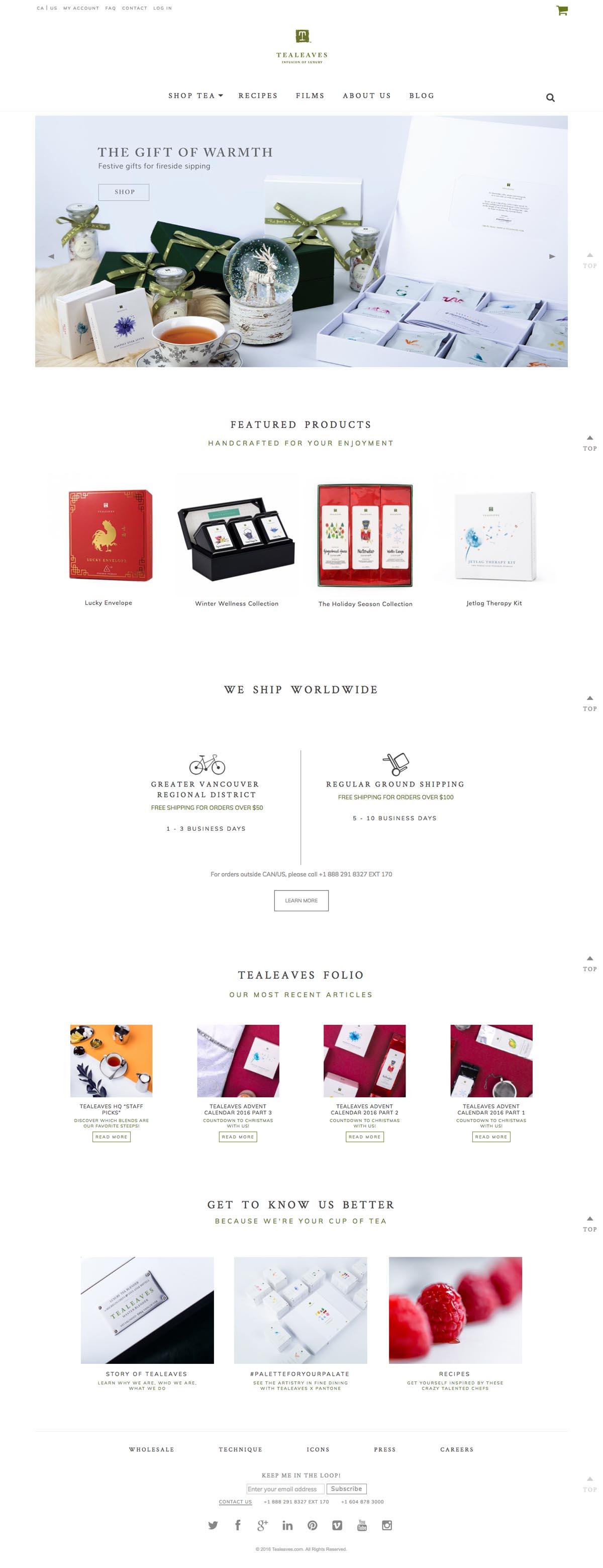 eCommerce website: Tealeaves