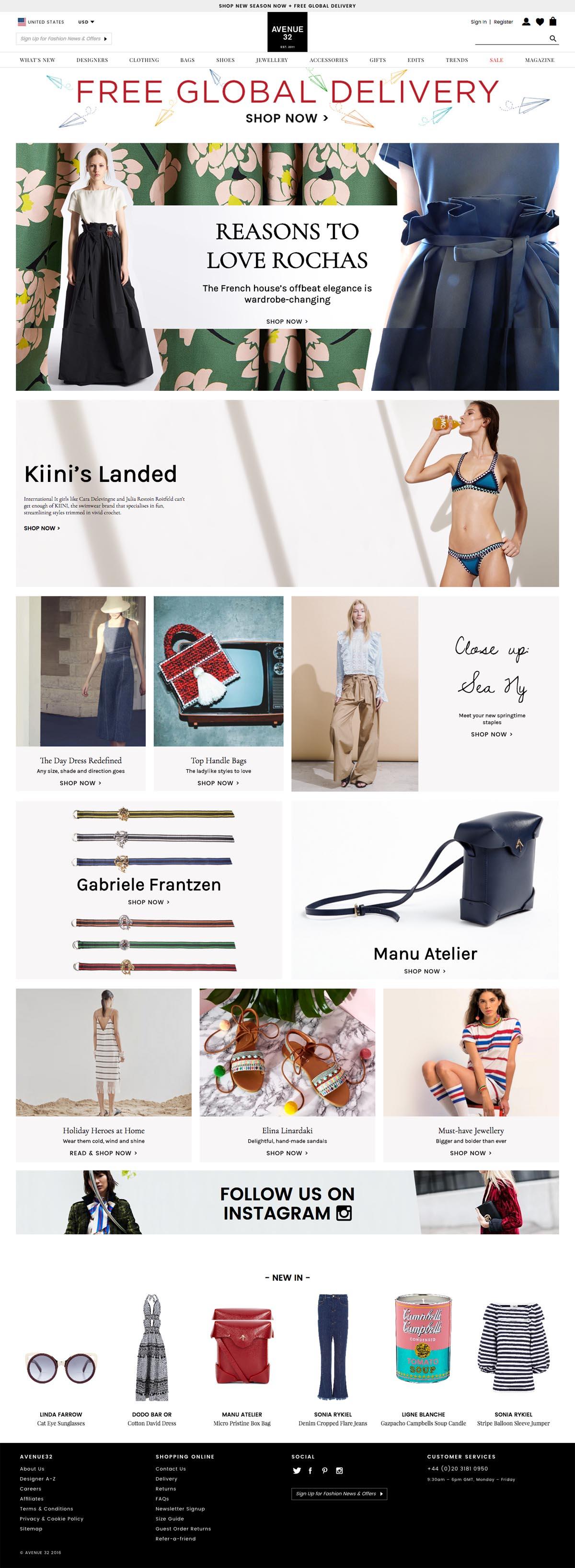 eCommerce website: Avenue 32