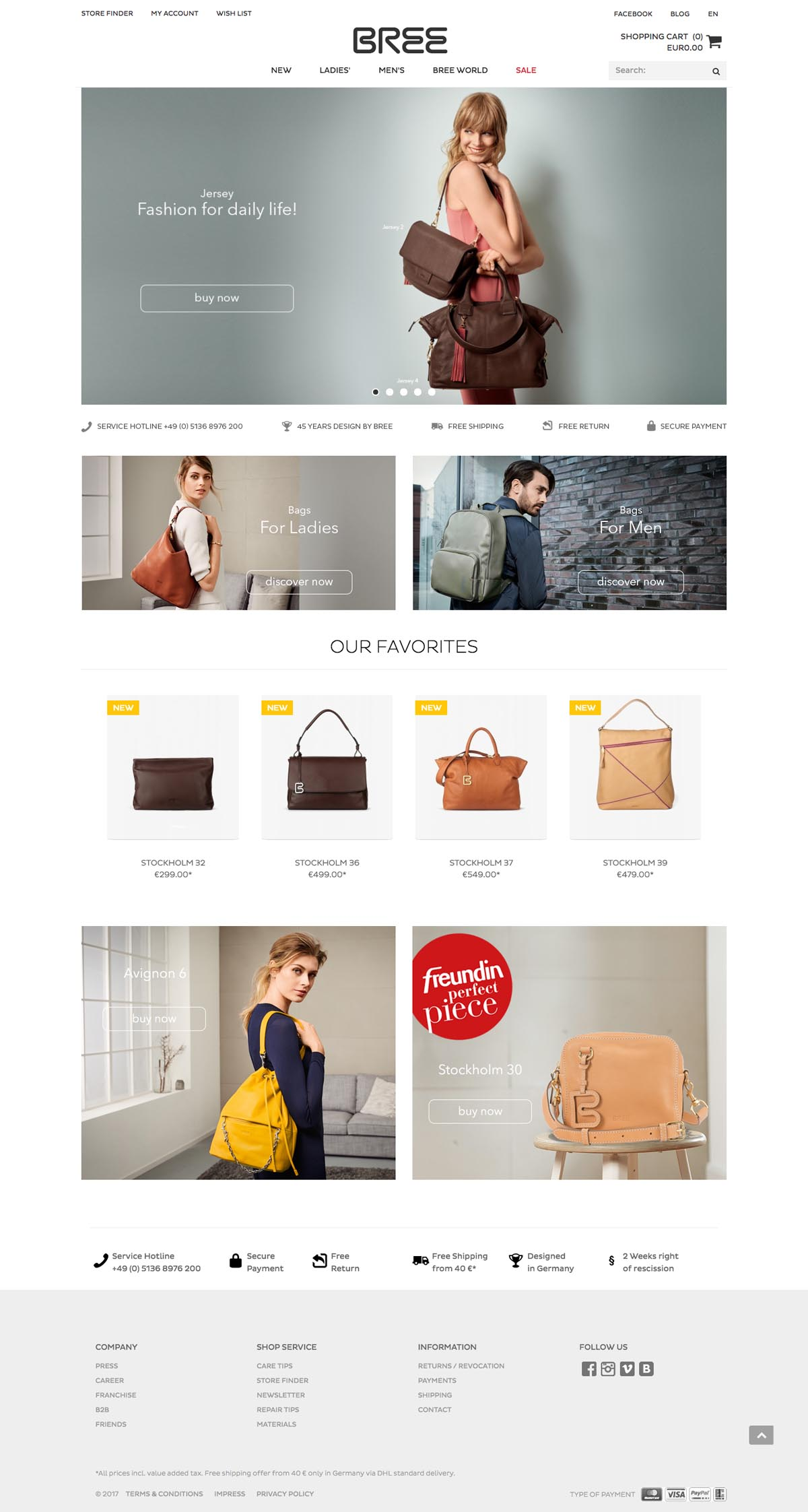 eCommerce website: Bree Bags