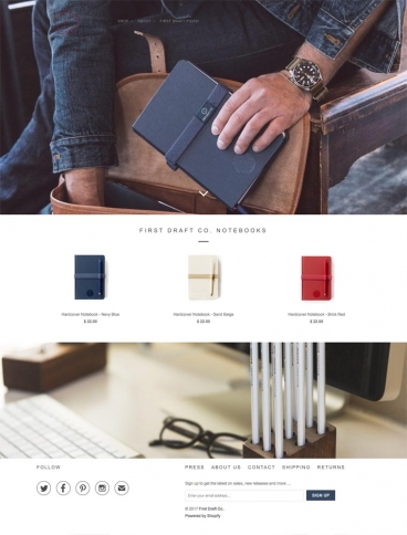 eCommerce website: First Draft Co.