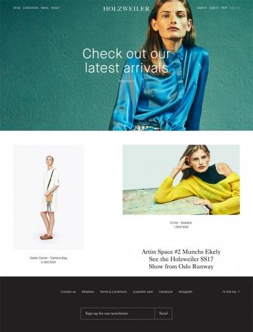 eCommerce website: Holzweiler