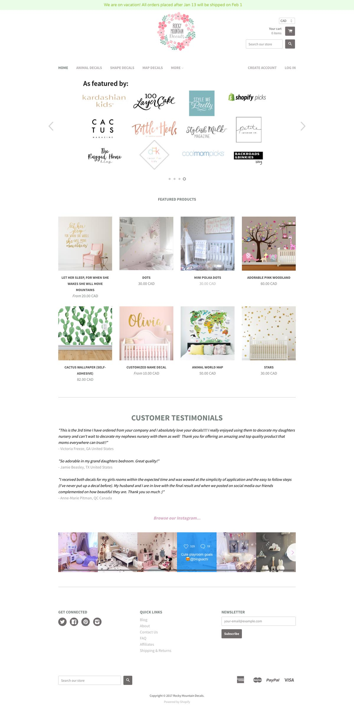 eCommerce website: Rocky Mountain Decal