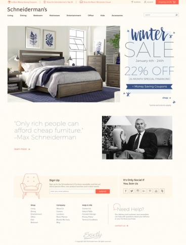 eCommerce website: Schneiderman's Furniture