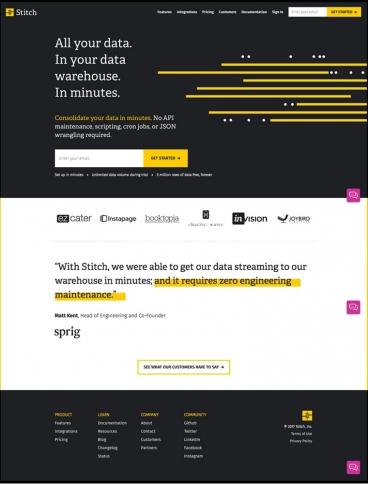 eCommerce website: Stitch Data