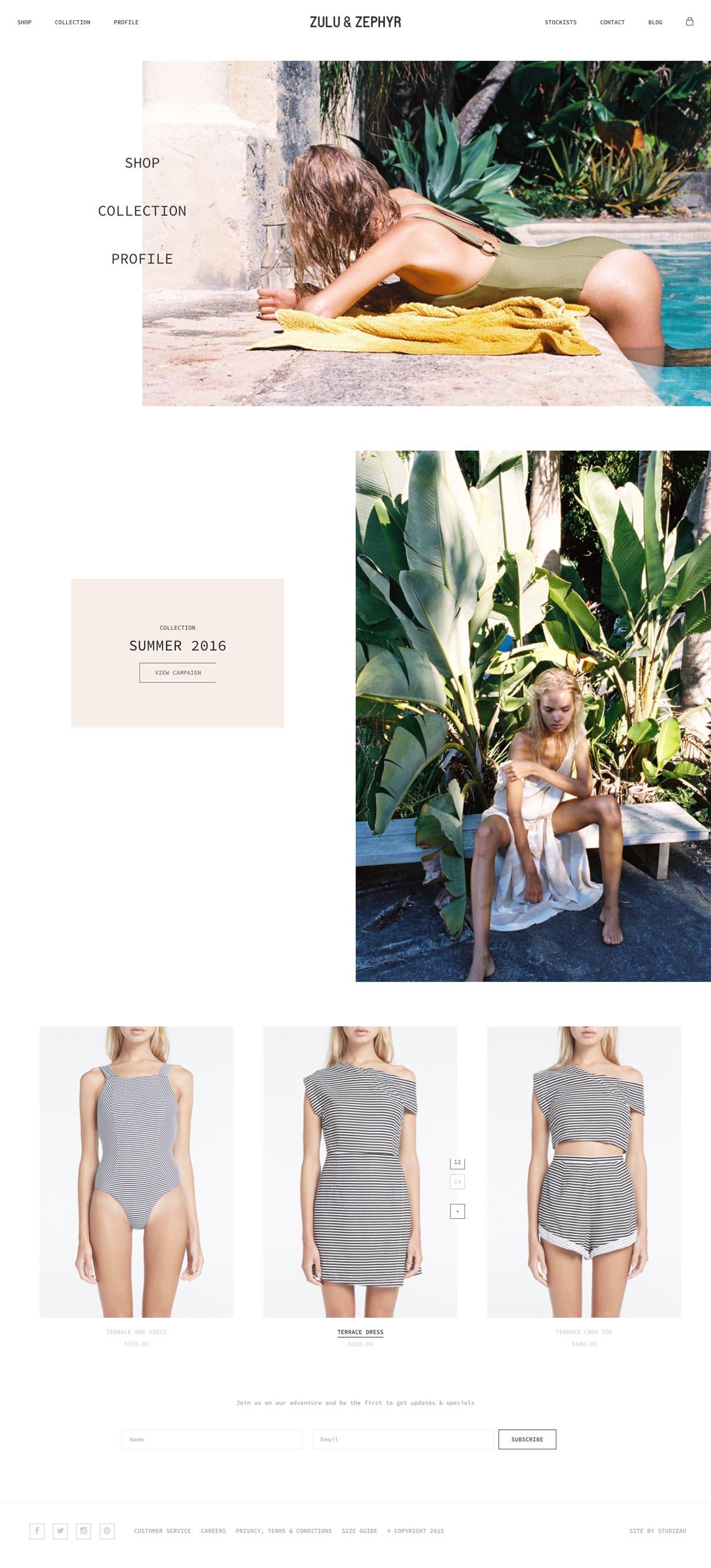eCommerce website: Zulu & Zephyr