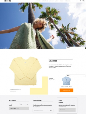 eCommerce website: LNKNITS