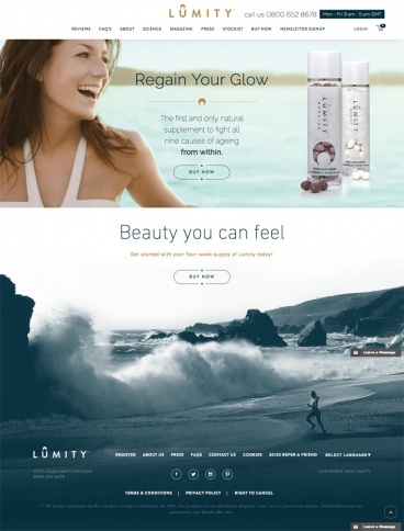 eCommerce website: Lumity Life