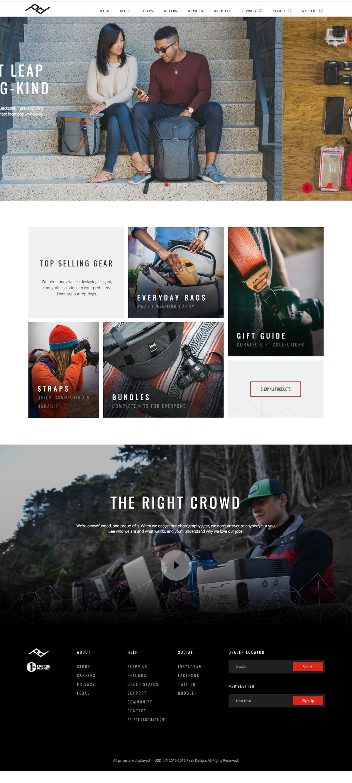 eCommerce website: Peak Design