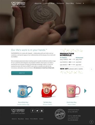 eCommerce website: Deneen Pottery