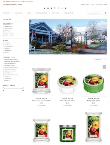 eCommerce website: Kringle Candle Company