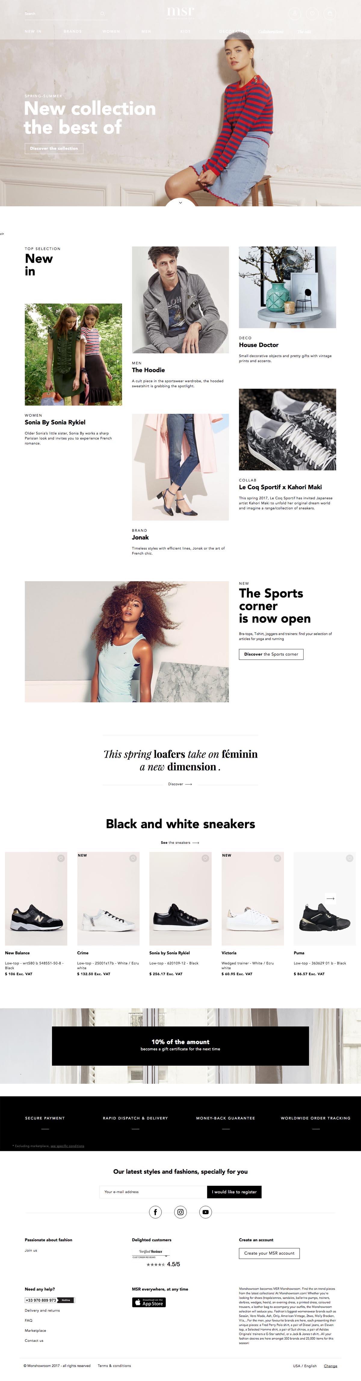 eCommerce website: Msr Monshowroom