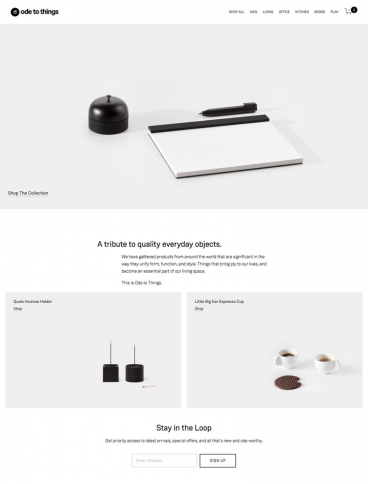 eCommerce website: Ode to Things