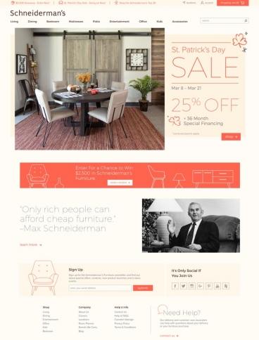 eCommerce website: Schneiderman's Furniture