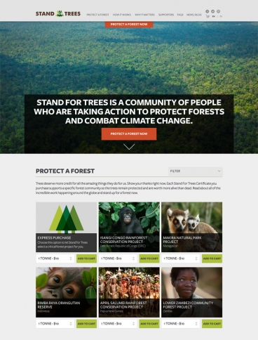eCommerce website: Stand For Trees