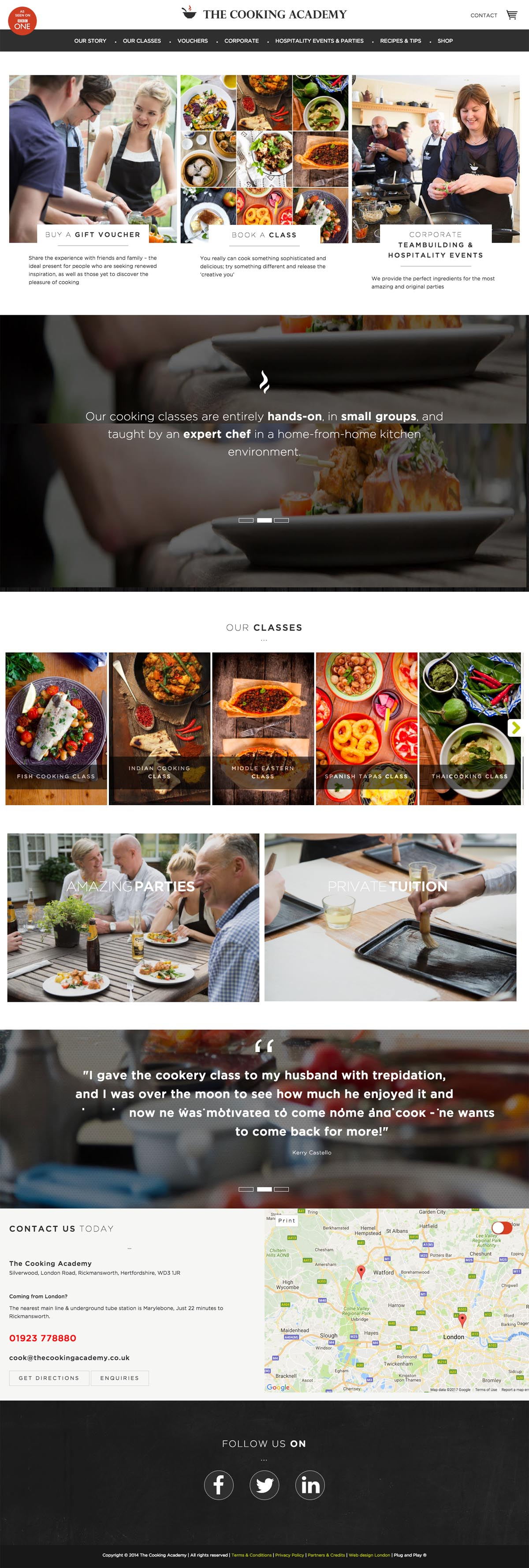 eCommerce website: The Cooking Academy