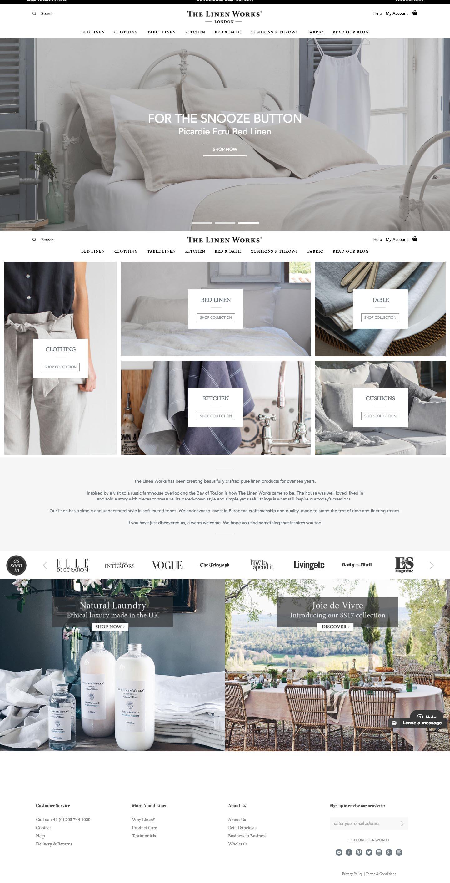 eCommerce website: The Linen Works