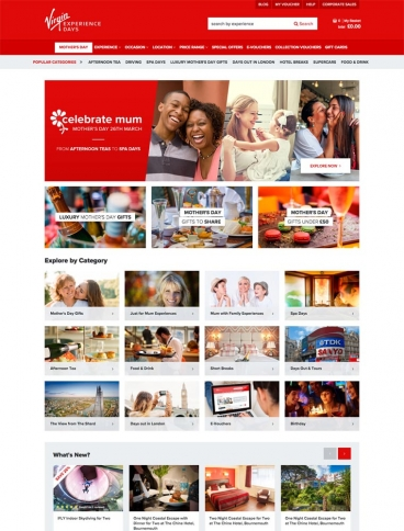 eCommerce website: Virgin Experience Days