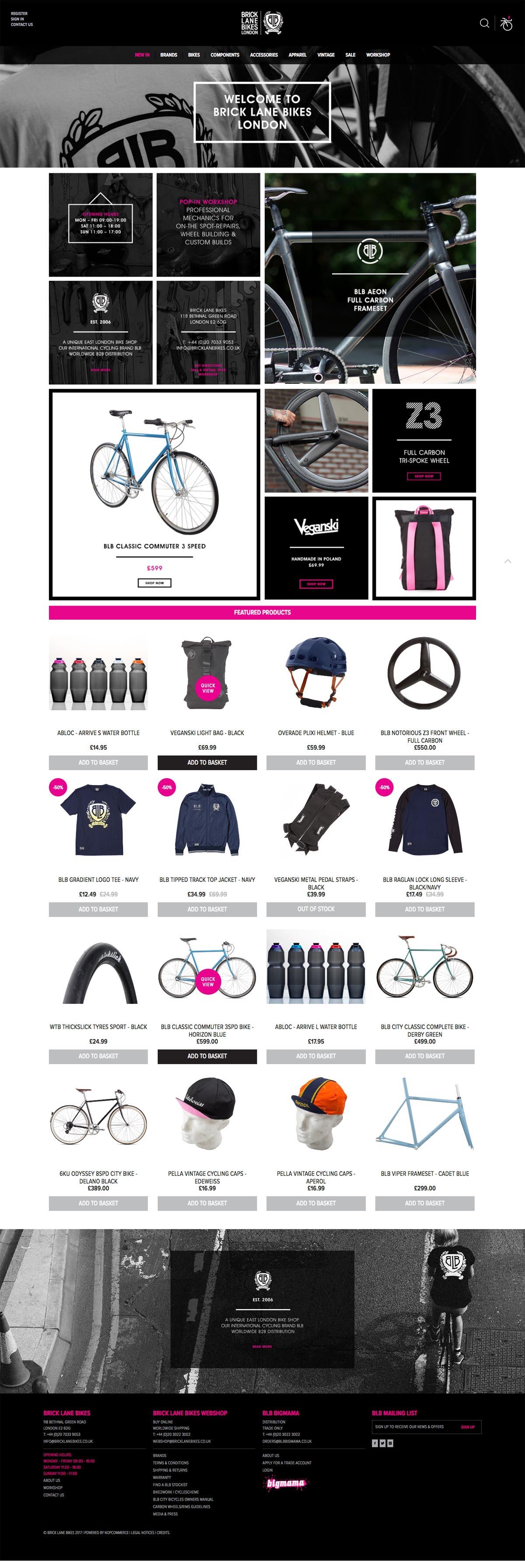 eCommerce website: Brick Lane Bikes