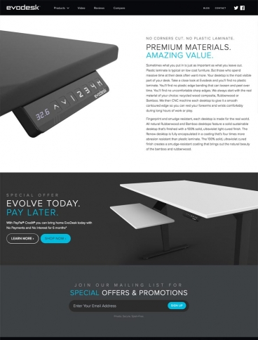 eCommerce website: Evodesk Standing Desks