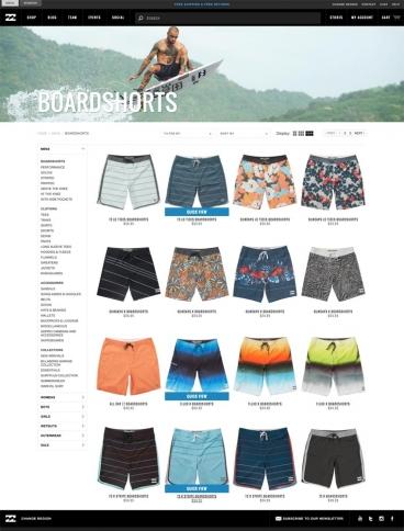 eCommerce website: Billabong