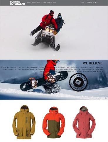 eCommerce website: Bonfire Outerwear