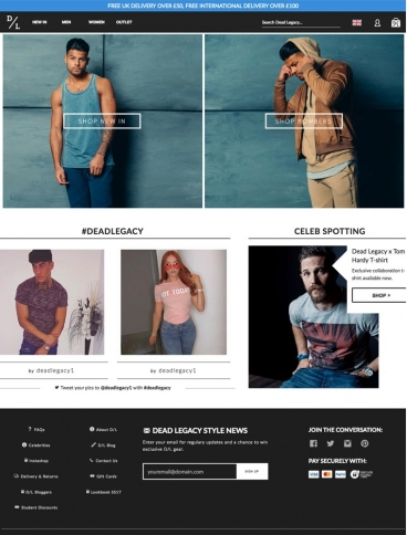 eCommerce website: Dead Legacy Clothing