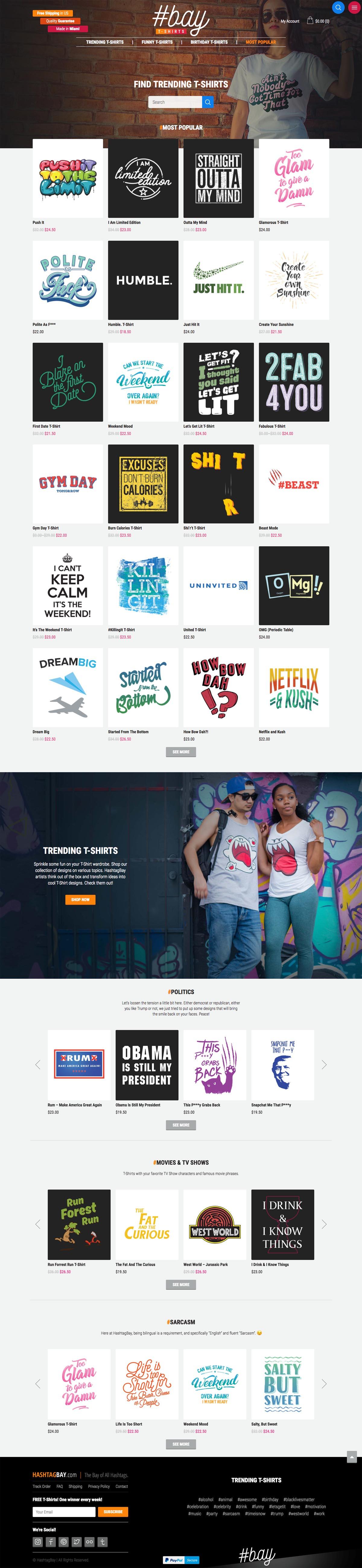 eCommerce website: HashtagBay
