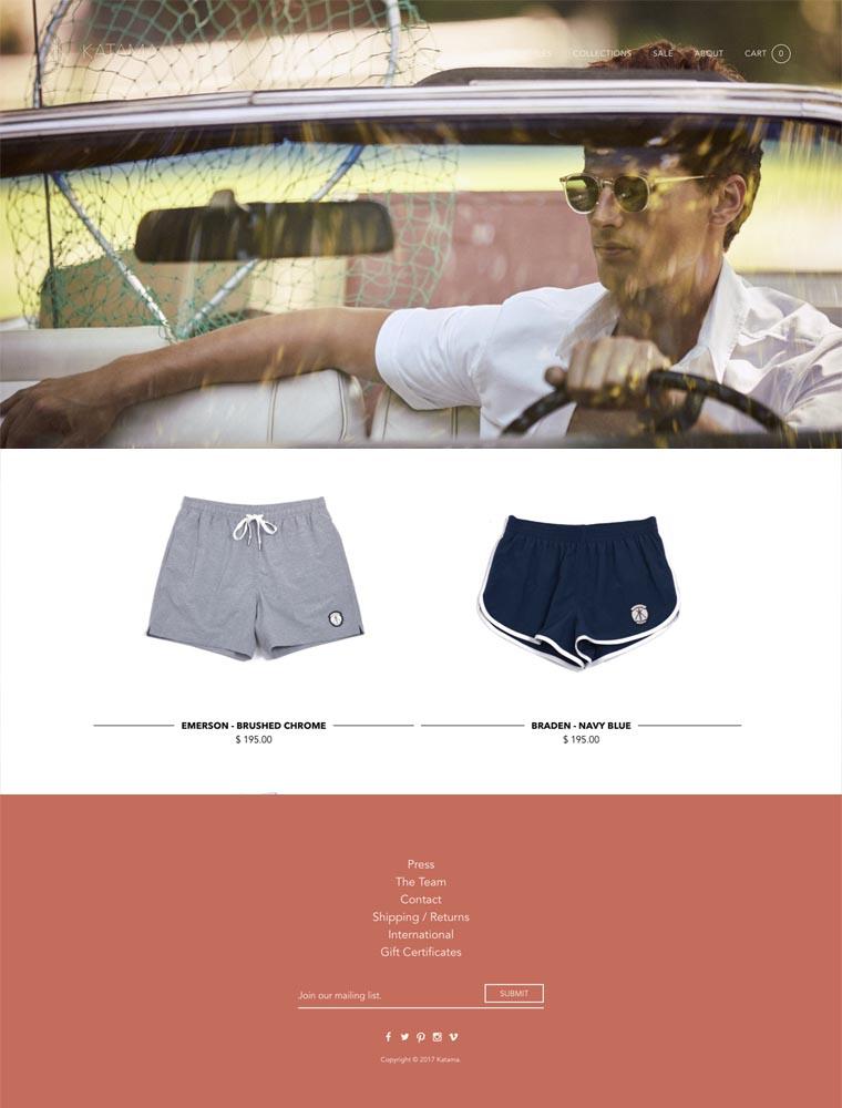 eCommerce website: Katama Swim